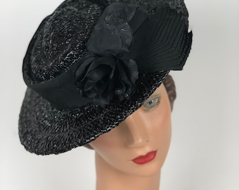 1940s I. Magnin & Co. black straw hat