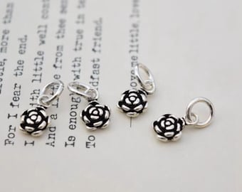 4 pcs sterling silver flower charm pendant  TY03