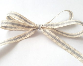 Pale Grey and Ivory Rustic Gingham 7mm Wide Ribbon *Sold Per Metre*