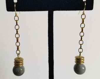 Gray & Gold Drop Earrings