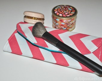Makeup Brush Case // Coral Chevron Travel Brush Organizer - Coral and Turquoise Mini Brush Roll - Gift for Her - Made to Order