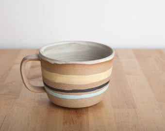 Stripey Latte Mug with handle - Striped Cup