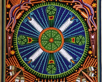 """23.5"""" Huichol painting, Mexican painting, Mexican decor, Mexican wall art, Huichol art, Native art, Mexican art, Mexican folk art, 60-088"""
