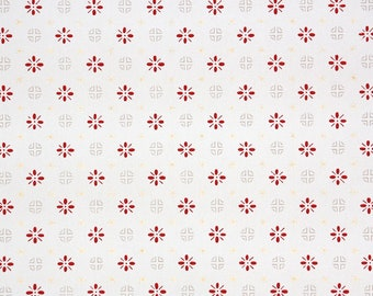 1940s Vintage Wallpaper by the Yard - Geometric Wallpaper Red on White