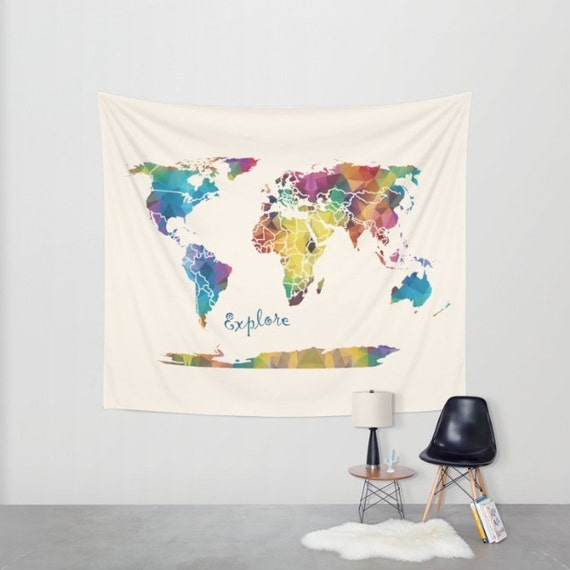 World map wall tapestry explore fabric wall art world map wall tapestry explore fabric wall art travel dorm world map blue green gold geometric modern dorm decor gumiabroncs Image collections