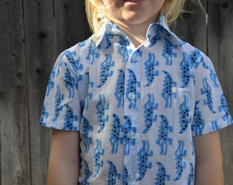 Hand Block Print Cotton Baby or Toddler Boys Handmade Button Down Shirt - White Blue Animals - Father Son Matching - Crocodile Crossing 3176
