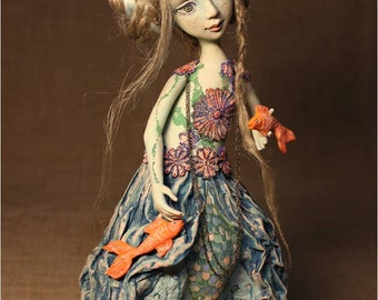 Princess of the underwater Kingdom interior doll  handmade doll  collectible doll one of a kind  mermaid art doll