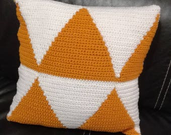 Mustard and white cotton hand crocheted square cushion.