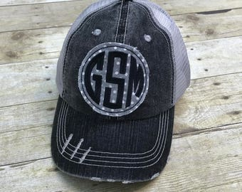 Great Smoky Mountains Grey and White Polka Dot Distressed Black and Grey Trucker Hat