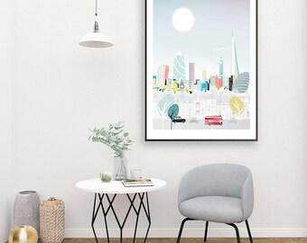 Large Travel Art London Wall Art, Skyline, Print Art, City of London Bus and Taxi Wall Art, City Paper poster, illustration, Style LXPP01