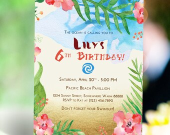 Moana Inspired Birthday Invitation and FB Cover | Hawaiian Luau Invitation | Pool Beach Party Invitation | Digital Printable Invitation