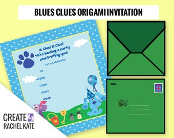 Blues Clues Inspired Birthday Party Personalized Origami Printable Invitation Invite Envelope