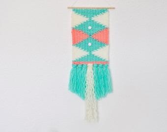 Woven Wall Hanging - Mint/Salmon/White - Small