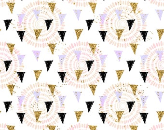 Triangle fabric cotton fabric knit fabric organic fabric geometric fabric fabric by the yard black and gold fabric jersey fabric spandex