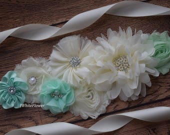 Mint ivory sash ,flower Belt, maternity sash, wedding sash, flower girl sash, maternity sash belt