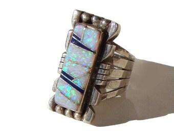 Vintage Zuni Inlay Opal Ring Sterling Silver Southwestern Indian Mosaic Sz 7