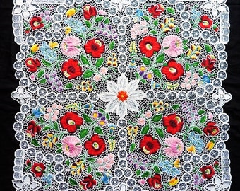 Large Hand made/ hand embroidered Hungarian Kalocsa Lace Tablecloth. 30.5 x 30.5""
