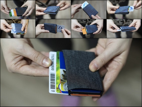 Vegan Wallet, Denim Mens Wallet, Minimalist Wallet, Womens Wallet, Slim Wallet - Groomsman Wallet, Groomsmen Wallet, RFID Blocking Wallet