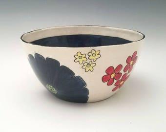 Ceramic Serving Bowl,  Fruit Bowl, Salad Bowl, Pasta Bowl, Colorful Floral Bowl