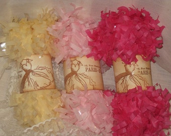 Tissue Paper Garland Festoon French Feston 6 Yards (18 Feet) Pink Cream