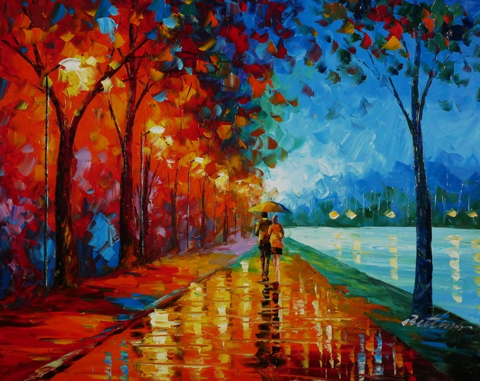 Park Couple OIl Painting Pallette Knife OIl on Canvas Wall Art Beautiful Decor