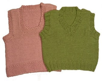 Easy Baby Vests Knitting Pattern - 2 Styles - V-Neck and Scoopneck -  PDF