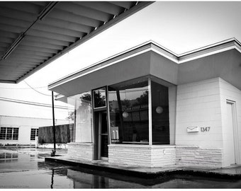 Vintage Filling Station Black and White Photo — Route 66 Gas Station Photograph — Rainy Day in Tulsa Photo — Oklahoma 66 B&W Wall Art