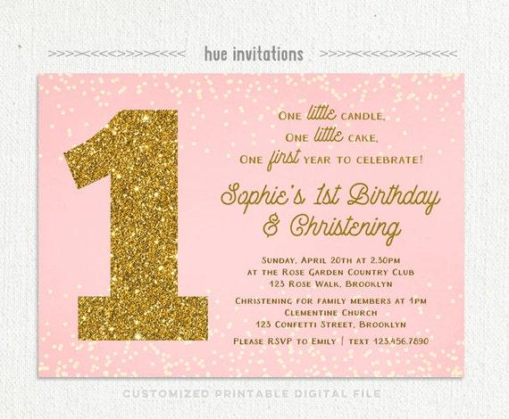 Girls 1st birthday christening invitation blush pink gold stopboris Gallery