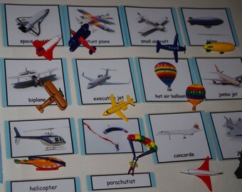 In the Sky-- Montessori 3-part cards or Matching Activity--Aircraft, Aviation