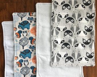 Wilderness Burp Cloths - Blue, Grey, White