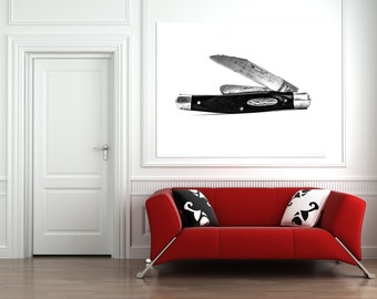 Old folding jackknife in BW Photographic Art Print, Wall Art for Home decor, 12 Sizes Available from Prints to Mounted Canvas