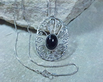 Sterling Silver and Black Onyx Necklace, Black Onyx necklace,