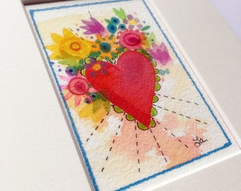 Heart Flowers small art watercolor original painting matted