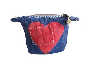 Ali Lamu Small Clutch Navy HEART Red