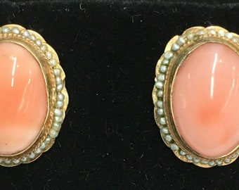 Antique Victorian coral seed pearl earrings 10k yellow gold