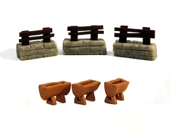 Agricola: All Creatures Big and Small Structure Set - 26 Borders and 10 Feeding Troughs