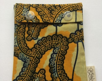 Reusable snack bag in yellow African print fabric/environment friendly/food safe