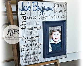Baptism Gift For Godson, Boy Baptism Gift, OUR WISH for YOU, Gifts From Godparents, Baptism Gift Boy, Navy Blue 16x16 The Sugared Plums