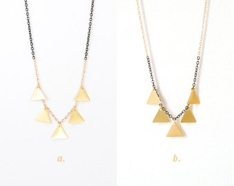 Golden Brass Triangle Fringe Necklace - Geometric Jewelry - Duo Tone Necklace - Tribal Pattern Inspired - Unisex - Minimalist - Gift for Her
