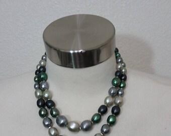 "1950's Multi Strand Necklace, Greens, 17"" Longest strand"