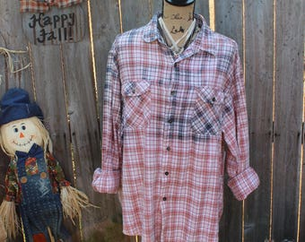 Blue, Pink and White Distressed Flannel Shirt, Size XL, Extra Large, Grunge Shirt, Bleached Shirt, Gypsy, Flea Market Style, Flannels  FF232