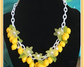 Fresh Yellow Lemon Necklace Pinup Rockabilly #400