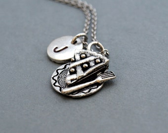 Slice of pie necklace, pie necklace, food charm, initial necklace, initial hand stamped, personalized, antique silver, monogram