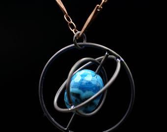 Titanium Orbit Necklace - Blue Lace Agate