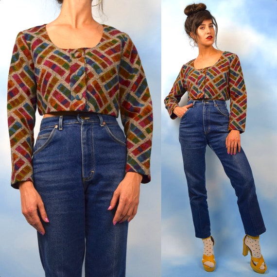 Vintage 50s 60s Textured Cross Hatched Rainbow Cropped Jacket (size medium, large)