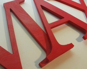 Wooden Letters, Solid Colors, Red or Your Choice of Color, Baby Names, Wall Art, Nursery Decor, Kids Room