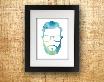 Hipster Watercolor Digital Print Beard Glasses Instant Download Digital Poster Wall Print