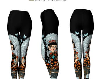 Leggings, Cara Carmina, Butterfly, black leggings, Yoga Leggings, Yoga girl, leggings women, Women Activewear, Illustrated leggings,