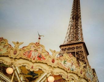Eiffel Tower Photo Paris Photography Carousel Photograph Dreamy Shabby Chic Carnival Print Vintage par38