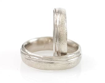 Sea and Sand - Beach Inspired Rings - Palladium/Silver Wedding Band Set - 5mm and 6mm - made to order wedding rings in recycled metal